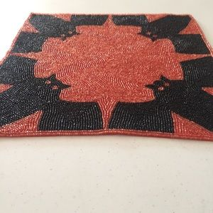 Halloween Bat Placemat Glass Beaded Spooky Night